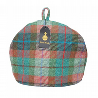 Harris Tweed tea cosy, teapot cover brick red turquoise green fabric tea cozy.