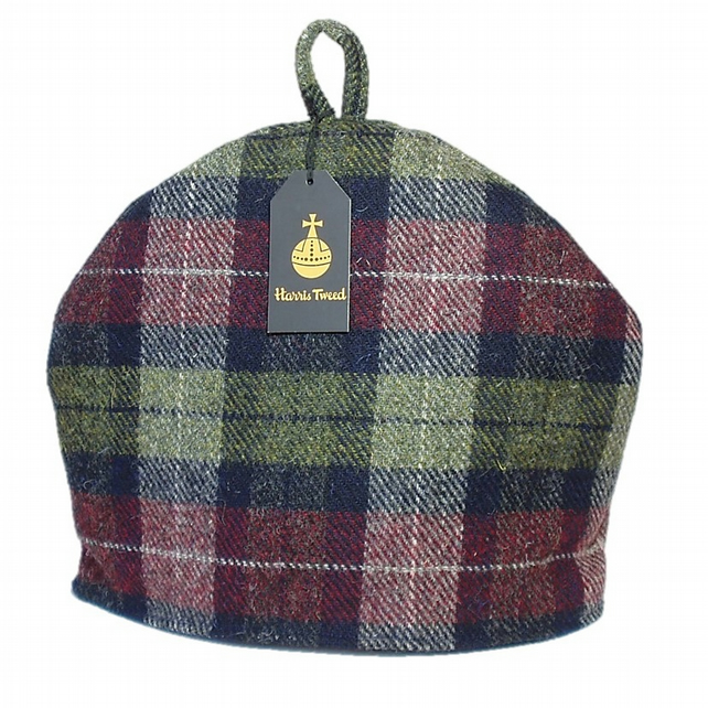 Harris Tweed tea cosy, teapot cover wine red olive green fabric tea cozy.