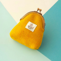 Harris tweed kiss clasp purse yellow orange coin purse gift for Mum Mother's Day