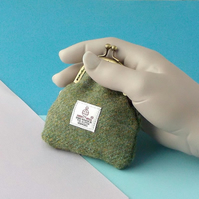 Harris tweed sage green pocket change purse kiss clasp coin purse gift for Mum