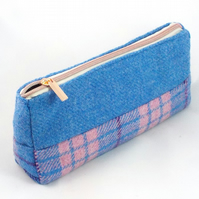 Harris tweed makeup bag pink and blue cosmetics purse toiletries pencil case