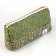 Harris tweed makeup bag olive green cosmetics purse toiletries pencil case