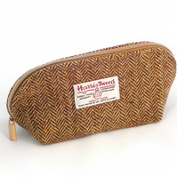 Harris tweed washbag brown and cream herringbone toiletries bag gifts for men