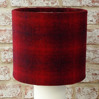 Harris Tweed drum lampshade red check handwoven wool fabric table lamp shade
