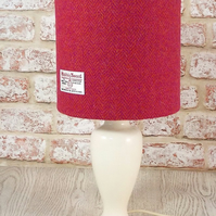 Harris Tweed drum lampshade pink orange herringbone fabric table lamp shade