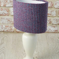 Harris Tweed oval lampshade pink and blue British wool fabric table lamp shade