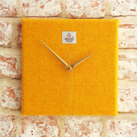 Harris Tweed square clock sunny yellow wool fabric clock golden wedding