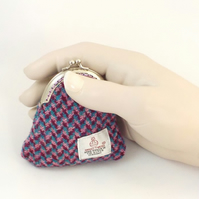 Harris tweed coin purse purple pink blue kiss clasp purse gift for Mum