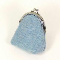 Harris tweed pale blue kiss clasp purse gift for Mum coin purse Mother's Day