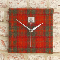 Harris Tweed orange and grey tartan square clock handwoven British wool fabric