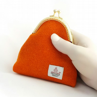Harris tweed bright orange purse kiss clasp change purse gifts for women