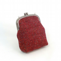 Harris tweed purse red grey herringbone kiss clasp coin purse gift for Mum