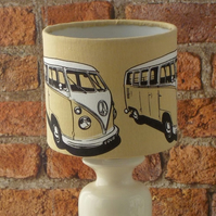 Motorhome table lamp shade campervan drum lampshade cream beige print fabric