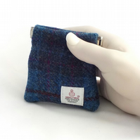 Harris tweed mens purse pocket change gents flex top coin purse blue purple