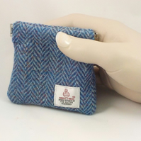 Harris tweed blue mens purse pocket change gents flex top wallet coin purse
