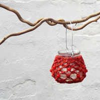 Macrame red candle holder hanging tealight jar Christmas decoration