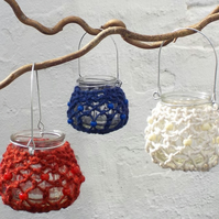 Macrame hanging tealight jar red white blue set of three garden lights small