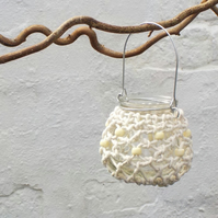 Macrame white candle holder hanging tealight jar table centre decoration