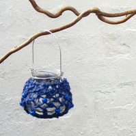 Macrame blue hanging tealight jar candle holder garden light small