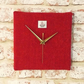 Harris Tweed clock pink and orange herringbone wool fabric square clock