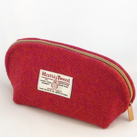Harris tweed washbag pink and orange herringbone toiletries bag cosmetics purse