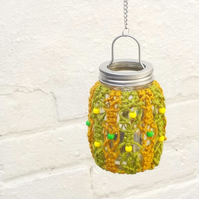 Macrame covered hanging candle jar lime and mustard tealight holder garden light