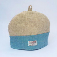 Harris Tweed tea cosy, teapot cover cream and pale blue fabric tea cozy.