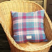 Harris tweed cushion cover pink and blue tartan check plaid decorative pillow