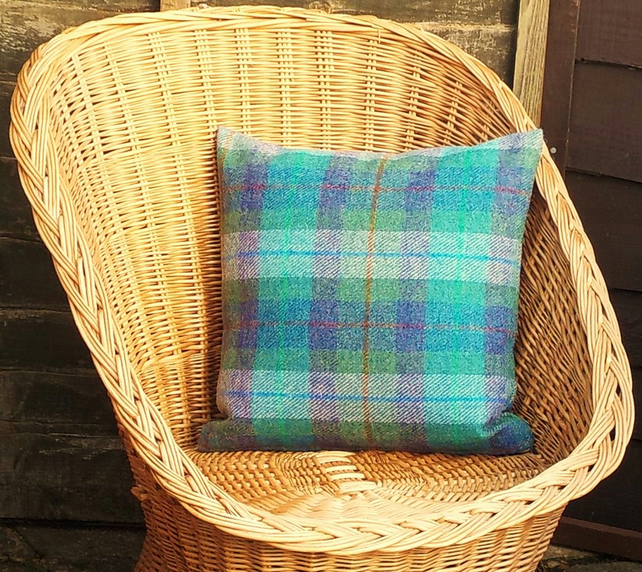 Harris tweed cushion covergreen and purple tartan handwoven British wool