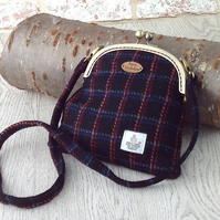 Harris tweed shoulderbag black cross body purse messenger bag
