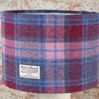 Harris Tweed drum lampshade pink blue burgundy tartan wool fabric lamp shade