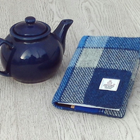 Harris tweed A6 book cover blue and white tartan diary notebook journal