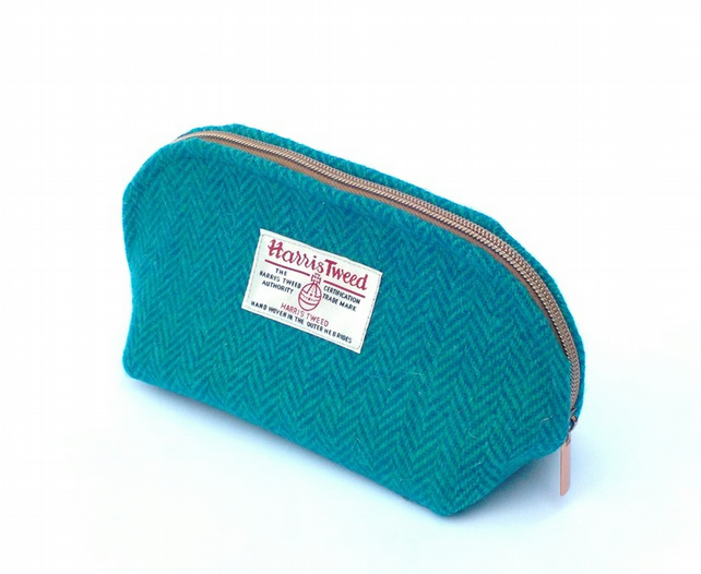 Harris tweed teal turquoise blue green washbag toiletries bag gifts for men