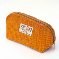 Harris tweed toiletries bag orange herringbone washbag