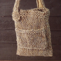 Chunky knit bag British wool brown shoulderbag