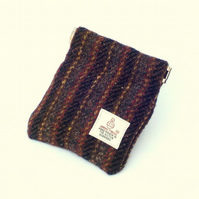 Harris tweed mens purse pocket change gents flex top coin purse grey stripe