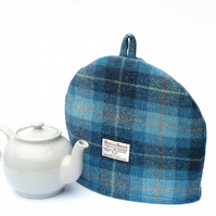 Harris Tweed tea cosy, blue and navy check teapot cover tartan fabric tea cozy.