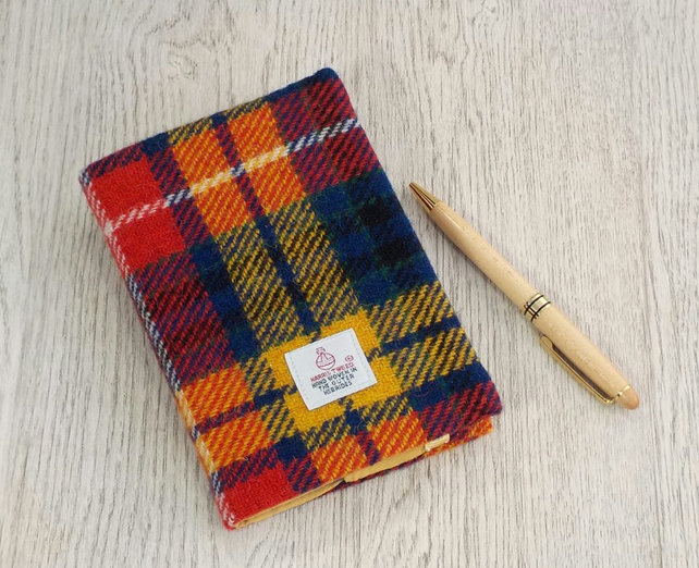 Harris tweed covered A6 diary notebook bright tartan