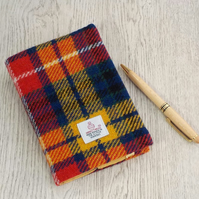 Harris tweed covered A6 diary notebook bright tartan teacher gift