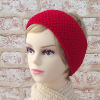 Knitted headband, bright red earwarmer, extra wide womens hairband, acrylic yarn