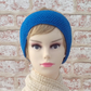 Womens hairband, headband, earwarmer, knit from bright blue pure British wool