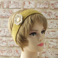 Yellow hairband with flower, handknit from pure British wool gifts for women