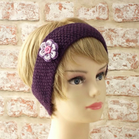 Purple hairband with flower, handknit from pure British wool gifts for women