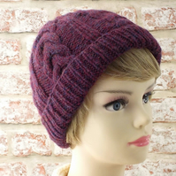 Women's beanie wine red hand knitted ladies hat soft British wool