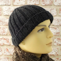 Mens knitted hat, chunky rib beanie hand knit charcoal grey British wool