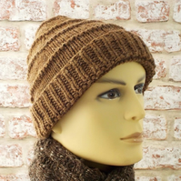 Manx Loaghtan knitted hat, chunky beanie hand knit rare breed British wool