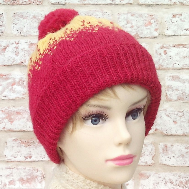 bf24cfa7d4e Red and yellow bobble hat pure British wool Exm... - Folksy