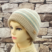 Knitted beanie British Wensleydale wool green and cream stripes
