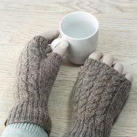 Knitted wool fingerless gloves natural grey brown British Shetland wool