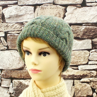 British wool green women's beanie hand knitted ladies hat cable design